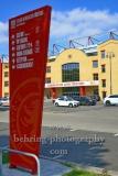 """Stadion An der Alten Försterei, Spielstätte des 1. FC Union Berlin, Hinweisschild an der Einfahrt zum Gelaende, """"STADTANSICHTEN"""", An der Wuhlheide 263, Berlin, 07.05.2020"""