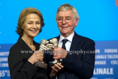 """Charlotte Rampling (Silver Bear For Best Actress for 45 YEARS), Tom Courtenay (Silver Bear For Best Actor for 45 YEARS), attends the """"Award Winners"""" - Press Conference during 65th Berlinale International Film Festival at the Grand Hyatt Hotel on February 14, 2015 in Berlin, Germany,(Photo: Christian Behring, www.christian-behring.com)"""