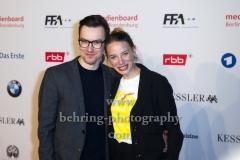 """""""DEUTSCHER FILMPREIS 2018 NOMINIERTENABEND"""", Jytte-Merle Boehrnsen und Tobias Wiemann (AMELIE RENNT), Roter Teppich im BMW Haus, Berlin, 07.04.2018"""