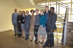 """DEUTSCHLAND 86"", Niels Bormann, Sylvester Groth, Anke Engelke, Uwe Preuss, Maria Schrader, Jonas Nay, Sonja Gerhardt, Vladimir Burlakov, Florence Kasumba, Photo Call am Set im Stasimuseum Berlin in der Zentrale des MfS, Berlin, 04.12.2017,"
