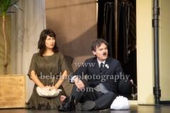 """""""Ein gewisser Charles Spencer Chaplin"""", Fotoprobe mit Wolfgang Bahro (Charlie Chaplin), Judith Wegner (Paulette Goddart), Regie: Ruediger Wandel, Schlosspark Theater (Premiere am 14.10.2017), Berlin, 11.10.2017,"""
