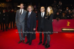 """Stanley Tucci (Regisseur, Drehbuchautor/ Director, Screenwriter), Clemence Poesy (Schauspielerin/ Actress), Armie Hammer (Schauspieler/ Actor), Geoffrey Rush (Schauspieler/ Actor), Sylvie Testud (Schauspielerin/ Actress), attends the """"FINAL PORTRAIT"""" - Red Carpet at the 67th Berlinale International Film Festival at the Berlinale-Palast on Frebruary 11.2017 in Berlin, germany"""