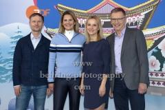 """""""OLYMPIA 2018"""", Photo call zm Olympia-Programm von ARD und ZDF, ZDF-Team mit Alexander Ruda, Katrin Mueller-Hohenstein, Katja Streso, Norbert Koenig, Radisson Blu Hotel, Berlin, 12.12.2017,"""