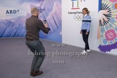 """""""OLYMPIA 2018"""", Photo call zm Olympia-Programm von ARD und ZDF, ZDF-Team mit Katrin Mueller-Hohenstein, Marco Buechel, Radisson Blu Hotel, Berlin, 12.12.2017,"""