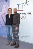 """OLYMPIA 2018"", Photo call zm Olympia-Programm von ARD und ZDF, mit Maria Hoefl-Riesch, Marco Buechel, Radisson Blu Hotel, Berlin, 12.12.2017,"