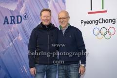 """""""OLYMPIA 2018"""", Photo call zm Olympia-Programm von ARD und ZDF, mit Skisprung-Experten Dieter Thoma, Toni Innauer, Radisson Blu Hotel, Berlin, 12.12.2017,"""