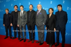 "Philipp Kadelbach (Regisseur/ Director), Robert Wade (Drehbuchautor/ Screentwriter), Neal Purvis (Drehbuchautor/ Screenwriter), Sally Woodward Gentle (Produzentin/ Producer), Ronald Zehrfeld (Schauspieler/ Actor), Sam Riley (Schauspieler/ Actor), James Cosmo (Schauspieler/ Actor), attends the ""SS-GB"" Red Carpet at the 67th BERLINALE, Berlin, 14.02.2017"